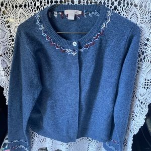 J Crew 💯 percent Lambswool Embroidered Sweater L